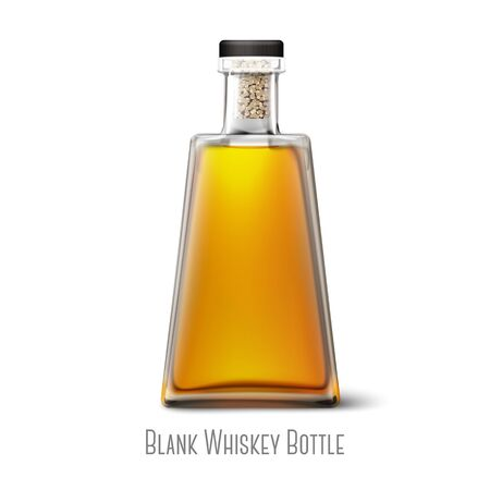 Blank realistic triangle whiskey bottle isolated on white background with place for your design and branding. Vector