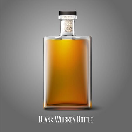 Blank realistic square whiskey bottle isolated on grey background with place for your design and branding. Vector