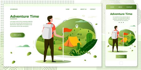 Vector cross platform illustration set, browser and mobile phone -  tourist man looking on camping place with bonfire. Forests, trees and hills on green background. Banner, site, poster template Illustration