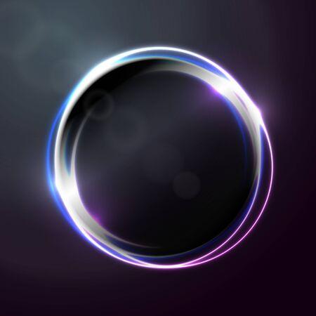 Bannière abstraite de vecteur, modèle de conception d'affiche avec forme de cercle lumineux.