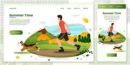 Vector cross platform illustration set - man with dog rolling in park. Forests, trees and hills on green background. Browser and mobile phone template with place for your text.