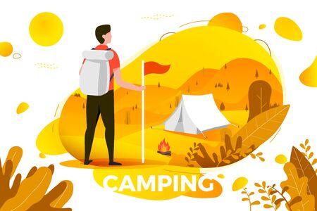 Illustrazione di vettore - uomo di campeggio con lo zaino che osserva sulla tenda. Montagne, alberi e colline sullo sfondo. Banner, sito, modello di poster con posto per il testo.
