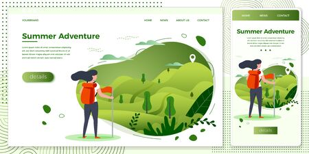 Vector cross platform illustration set -  tourist girl looking on mountain to climb. Forests, trees and hills on green background.Browser and mobile phone template with place for your text. Ilustração