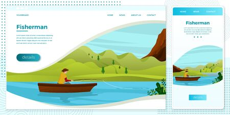 Vector cross platform illustration set - fisherman on boat with rod. River, forests, trees, mountains and hills on green background. Browser and mobile phone template with place for your text.