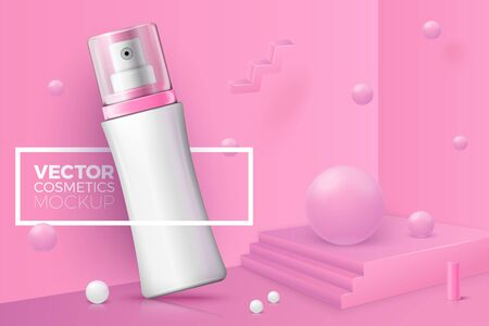 Vector 3d realistic corner wall abstract scene with place for your text, podium and spray bottle, pink and white geometric shapes. Illustration