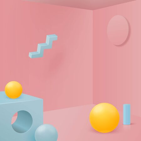 Vector 3d realistic corner wall abstract scene with geometric shapes, for product presentations. Pink, blue and yellow soft pastel colors.