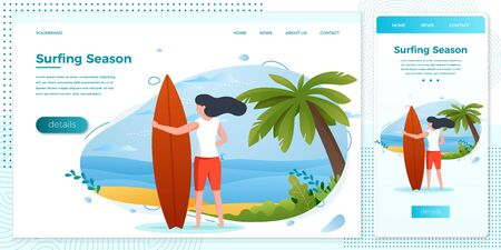 Vector cross platform illustration set - surfing girl on a beach. Palm, sand, ocean on background. Browser and mobile phone template with place for your text. Stock Illustratie