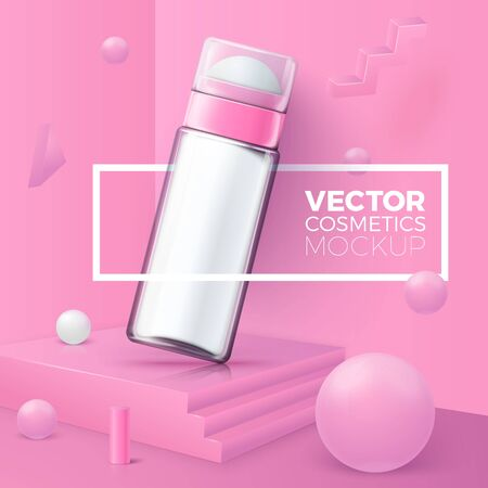 Vector 3d realistic abstract corner scene with text and border around deodorant bottle.  Soft pink and white colors, with geometric shapes.