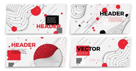 Vector new memphis style banner templates, white modern background with geometric shapes and place for your text. 向量圖像