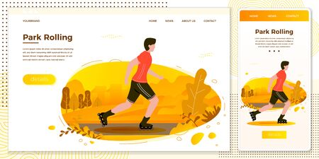 Vector cross platform illustration set -  roller skating man in park. Forest, trees and hills on background. Browser and mobile phone template with place for your text. Ilustracja