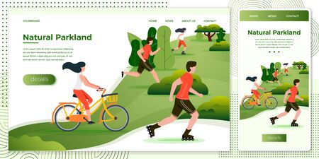 Vector cross platform illustration set, browser and mobile phone  - bicycle riding, running, rolling people in park and trees on background. Banner, site, poster template with place for your text.