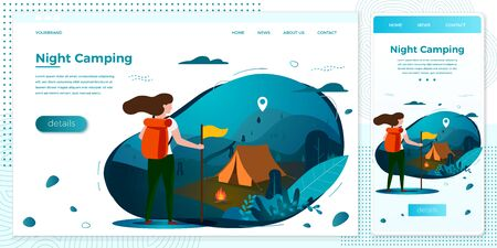 Vector cross platform illustration set -  tourist girl with backpack, night summer camp, forests, trees and hills on dark background. Browser and mobile phone template with place for your text.