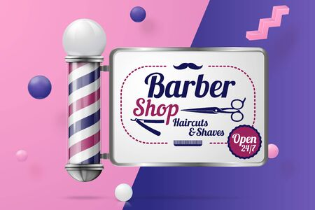 Vector 3d realistic barber pole abstract scene with text and border, violet, pink and white balls and objects.