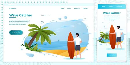 Vector cross platform illustration set - surfing man on a beach. Palm, sand, ocean on background. Browser and mobile phone template with place for your text.