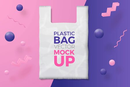Vector 3d realistic abstract scene with plastic bag and text, violet, pink and white balls and objects.