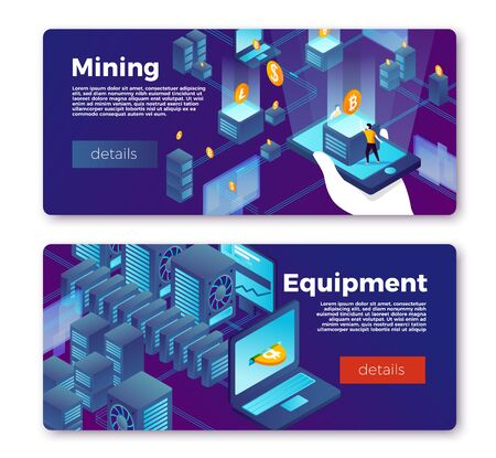 Vector cryptocurrency mining equipment banner templates set. Hand with mobile coins and data servers with money comes out of laptop. With place for your text. Ilustração