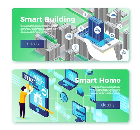 Vector smart home and building banner templates set. Man with phone control infrastructure. With place for your text.