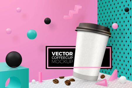 Vector 3d realistic corner wall abstract scene with text and border, podium and coffee cup, pink, white, black and green balls and objects.