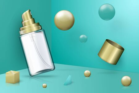 Vector 3d realistic abstract scene with transparent spray bottle.  Bright turquoise and golden background with geometric shapes.