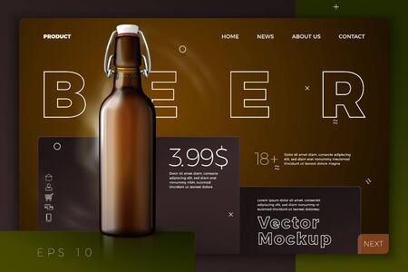 Vector realistic 3d retro beer bottle on dark site template. Mock-up for product package branding.