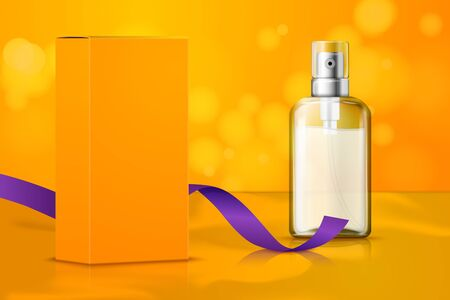 Vector bright realistic set up for cosmetics package branding, white spray bottle, orange box and ribbon on trendy modern background. Ilustrace