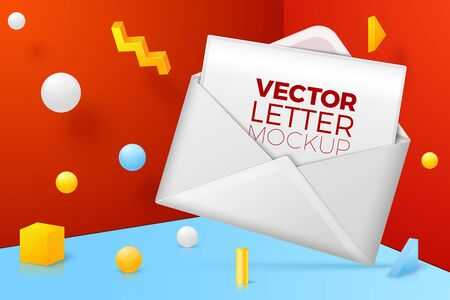 Vector 3d realistic abstract scene with envelope and letter, postcard.  Bright blue, red and yellow background with geometric shapes and border.