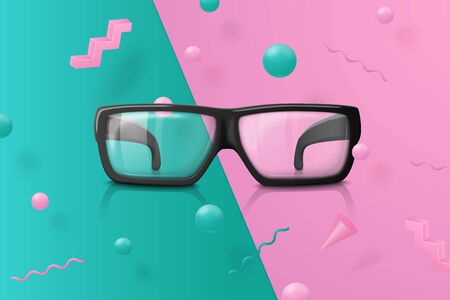 Vector 3d realistic transparent glasses on abstract scene with pink, green and white balls and objects. Ilustrace