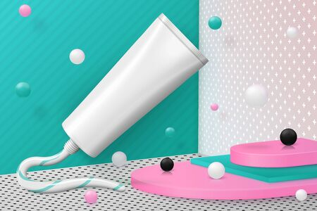Vector 3d realistic corner wall abstract scene with paste tube, podium, pink, white, black and green balls and objects.
