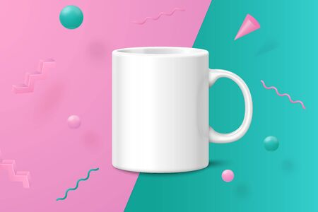 Vector 3d realistic white cup abstract scene with pink, green and white balls and objects. Ilustrace