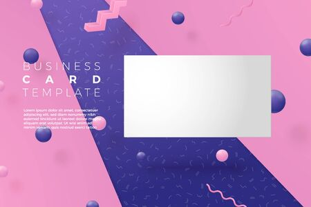 Vector 3d realistic business card abstract scene with violet, pink and white balls and objects. Ilustrace