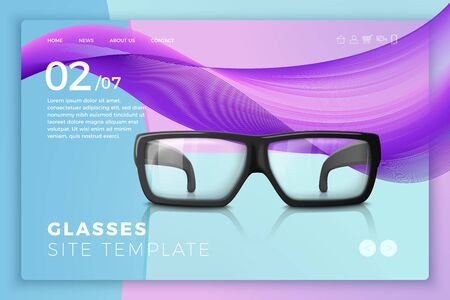 Vector 3d realistic transparent glasses isolated on bright modern site template with typographic background. Mock-up for product package branding.