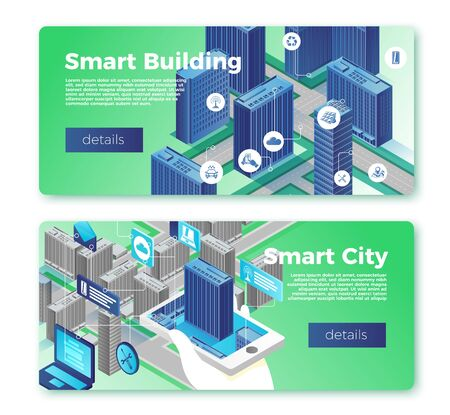 Vector smart city and building banner templates set. Hand with phone control infrastructure on urban map. With place for your text.