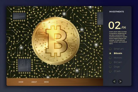 Vector realistic 3d bitcoin coin and circuits on modern site template with typographic background. Ilustracja