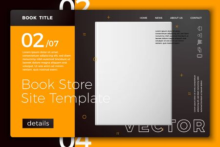 Vector realistic 3d white book isolated on bright modern site template with typographic background. Mock-up for product package branding.
