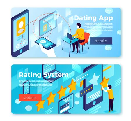 Vector set of bright banner templates with dating app and rating system. With place for your text. 일러스트