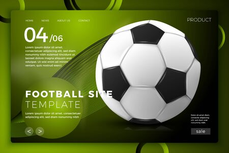 Vector realistic 3d football ball on bright modern site template with typographic background. Mock-up for product package branding. 版權商用圖片 - 129254688