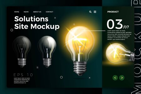 Vector realistic 3d new business solutions site template with lamp on dark modern background. Mock-up for product package branding. Ilustracja