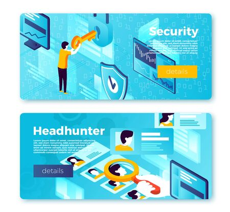 Vector set of bright banner templates with internet security system and head hunter working process. With place for your text. Иллюстрация