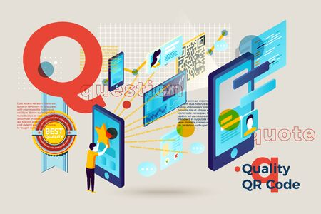 Vector concept illustration -  alphabet letter Q with qr code quality searching people. Modern bright banner template with charts and place for your text.