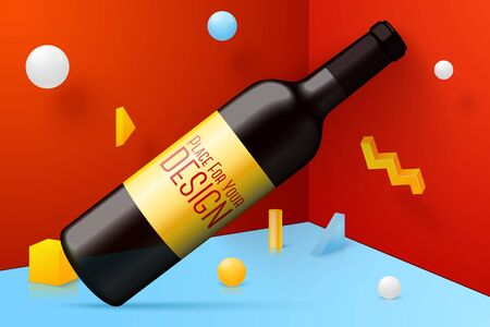 Vector 3d realistic corner wall abstract scene with red wine bottle, yellow, white and blue balls and objects.