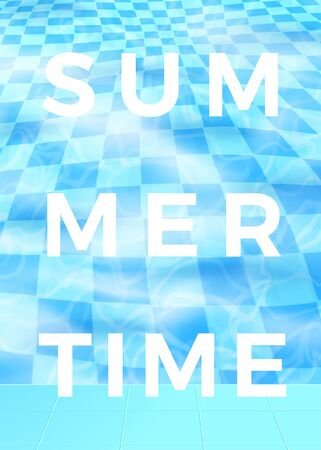 Vector summer time poster design, blue water pool abstract background. Fresh and bright decorative backdrop with place for your text. 일러스트