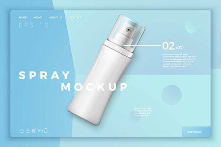 Vector 3d realistic spray bottle with cap on modern site template with typographic background. Mock-up for product package branding. Reklamní fotografie - 133544603