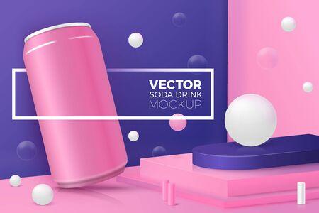 Vector realistic corner wall scene with soda can Иллюстрация