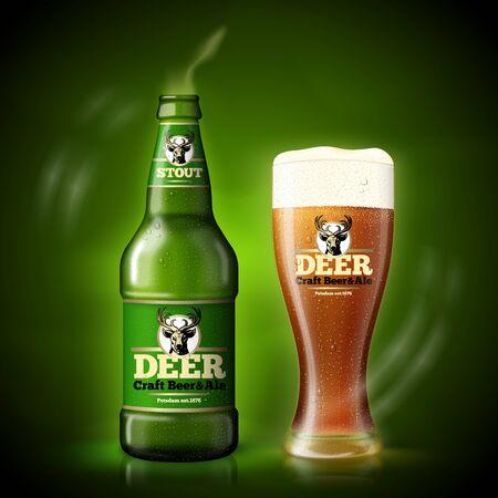 Vector Beer template, green bottle and beer glass Иллюстрация