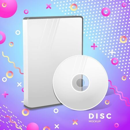 Vector realistic disk, box mockup abstract banner