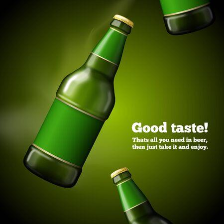 Vector template for Beer advertising Green bottle Иллюстрация