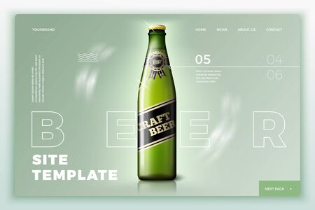 Vector green beer bottle on bright site template