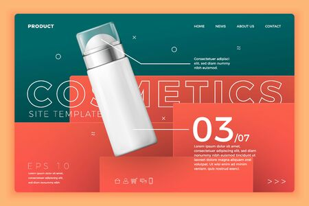 Vector cosmetic deodorant on modern site template 向量圖像