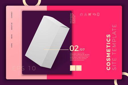 Vector realistic paper box on modern site template Иллюстрация