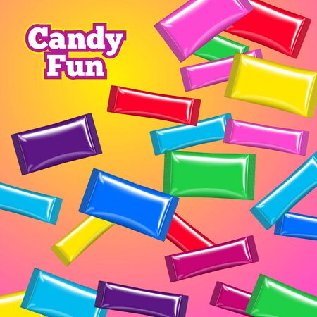 Vector eps10 falling candy bright mockup template